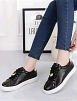 Women's Shoes Leatherette Flat Heel Comfort Fashion Sneakers Outdoor / Casual / Athletic Black / White