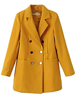 Women's Solid Blue / Yellow Coat,Simple / Street chic Long Sleeve Polyester