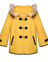 Women's Solid White / Yellow Coat,Simple / Cute ¾ Sleeve Wool