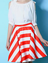 Women's Striped Red Skirts,Street chic Above Knee