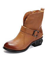 Women's Shoes Cowhide Chunky Heel Fashion Boots Boots Outdoor / Dress / Casual Black / Brown