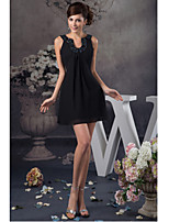 Cocktail Party Dress-Black Sheath/Column Jewel Short/Mini Chiffon