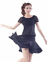 Latin Dance Outfits Women's Training Tulle / Milk Fiber Draped / Pleated / Ruffles 2 Pieces Black / Blue / Red