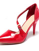 Chaussures Femme-Mariage / Bureau & Travail / Soirée & Evénement-Noir / Rouge / Amande-Talon Aiguille-Talons-Talons-Similicuir