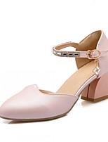Chaussures Femme-Mariage / Bureau & Travail / Soirée & Evénement-Bleu / Rose / Blanc-Gros Talon-Talons-Talons-Similicuir