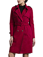 Women's Solid Red Trench Coat,Simple Long Sleeve Polyester