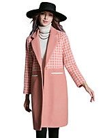 Women's Plaid Blue / Pink / Black Trench Coat,Plus Size / Simple Long Sleeve Wool