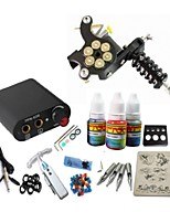 Tattoo Kit JH561 Gun Machine With Power Supply Grips 3x10ML Ink