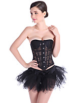 Women Thin Sexy Lace Patchwork Shaper with Padding G-Strings Corset Black White