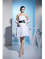 Cocktail Party Dress-White A-line Strapless Knee-length Chiffon / Charmeuse