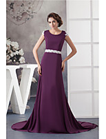 Formal Evening Dress-Grape A-line Jewel Court Train Chiffon / Lace