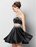 Cocktail Party Dress - Black A-line Sweetheart Short/Mini Charmeuse / Sequined