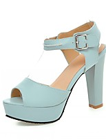 Women's Shoes Leatherette Chunky Heel Peep Toe Sandals Outdoor / Office & Career / Party & Evening Blue / Pink / White