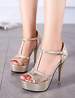 Women's Shoes Synthetic Stiletto Heel Peep Toe  Sandals Party & Evening / Dress Silver / Gold