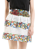 Women's Floral White Skirts,Casual / Day Above Knee