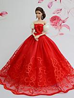 Poupée Barbie-Rouge-Soirée & Cérémonie-Robes- enOrganza / Dentelle