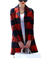 Women's Color Block Red Coat,Simple / Street chic Long Sleeve Polyester