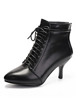 Chaussures Femme-Extérieure / Habillé / Décontracté-Noir / Rouge-Talon Aiguille-Bottes à la Mode-Bottes-Similicuir / Cuir