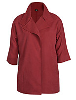 Women's Solid Blue / Red / Yellow Trench Coat,Simple ½ Length Sleeve Polyester