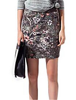 Women's Print Gray Skirts,Casual / Day Knee-length
