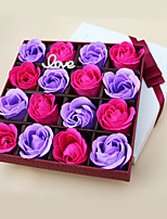 Birthday Wedding Holiday Day Gift Romantic 16pcs  Rose Soap Flowers Box