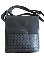 Men PU / Cowhide Messenger Shoulder Bag-Black