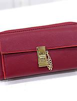 Tri-fold (tre scomparti)-Pochette / Portafoglio / Porta carte di credito-Donna-PU-Rosso / Grigio / Nero