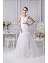 Trumpet/Mermaid Wedding Dress-Ivory Chapel Train Sweetheart Satin / Tulle