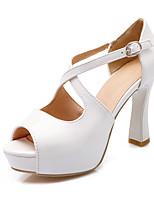 Scarpe Donna-Scarpe col tacco-Formale-Tacchi / Spuntate-Quadrato-Vernice-Nero / Rosa / Bianco