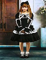 Steampunk®Cotton Black Lace Bow Lolita Dress Outfit