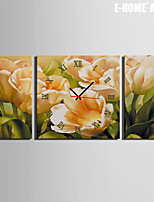 E-HOME® Yellow Tulip Clock in Canvas 3pcs
