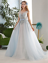 Ball Gown Wedding Dress-Sky Blue Court Train Jewel Lace / Tulle / Sequined