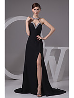 Formal Evening Dress-Black A-line Jewel Sweep/Brush Train Chiffon