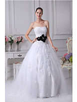 A-line Wedding Dress-White Sweetheart Satin / Tulle