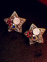Boucles d'oreille goutte Alliage Strass Imitation de diamant Forme d'Etoile Doré Bijoux Quotidien 1 paire