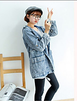 Women's Solid Blue Denim Jackets,Simple Long Sleeve Cotton / Polyester
