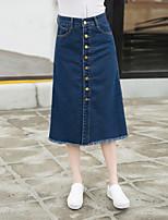 Mulheres Saias Médio Vintage / Moda de Rua Algodão / Poliéster Sem Elasticidade Mulheres