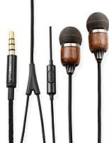 littlebigsound teak premie echt hout in-ear geluidsisolerende koptelefoon met microfoon&afstandsbediening voor smartphone