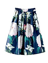 Women's Floral Blue / White Skirts,Casual / Day Midi