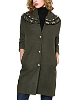 Women's Solid Brown Pea Coats,Simple / Street chic ¾ Sleeve Wool