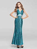 Formal Evening Dress-Clover Trumpet/Mermaid V-neck Ankle-length Sequined