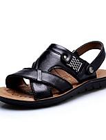 Sapatos Masculinos-Sandálias-Preto / Marrom / Laranja-Courino-Ar-Livre / Casual
