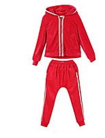 Girl's Black / Red Clothing Set,Stripes Cotton Winter
