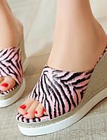 Calçados Femininos-Sandálias / Saltos-Anabela / Plataforma / Chanel / Bico Aberto-Anabela-Rosa / Branco / Dourado-Courino-Social
