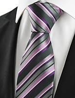 KissTies Men's Striped Purple Grey Microfiber Tie Necktie For Wedding Party Holiday With Gift Box