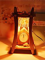 madera de la pirámide creativa con la lámpara de decoración envase reloj de escritorio de regalo lámpara del dormitorio para el cabrito