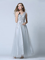 Formal Evening Dress-Silver Ball Gown V-neck Ankle-length Lace / Tulle