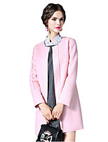 Women's Solid Blue / Pink Coat,Simple / Cute Long Sleeve Polyester