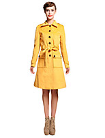 Women's Solid Red / White / Black / Yellow Coat,Simple Long Sleeve Wool
