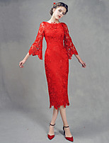 Cocktail Party Dress-Ruby Sheath/Column Jewel Tea-length Lace